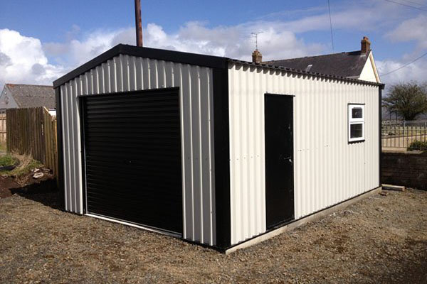 White steel shed building