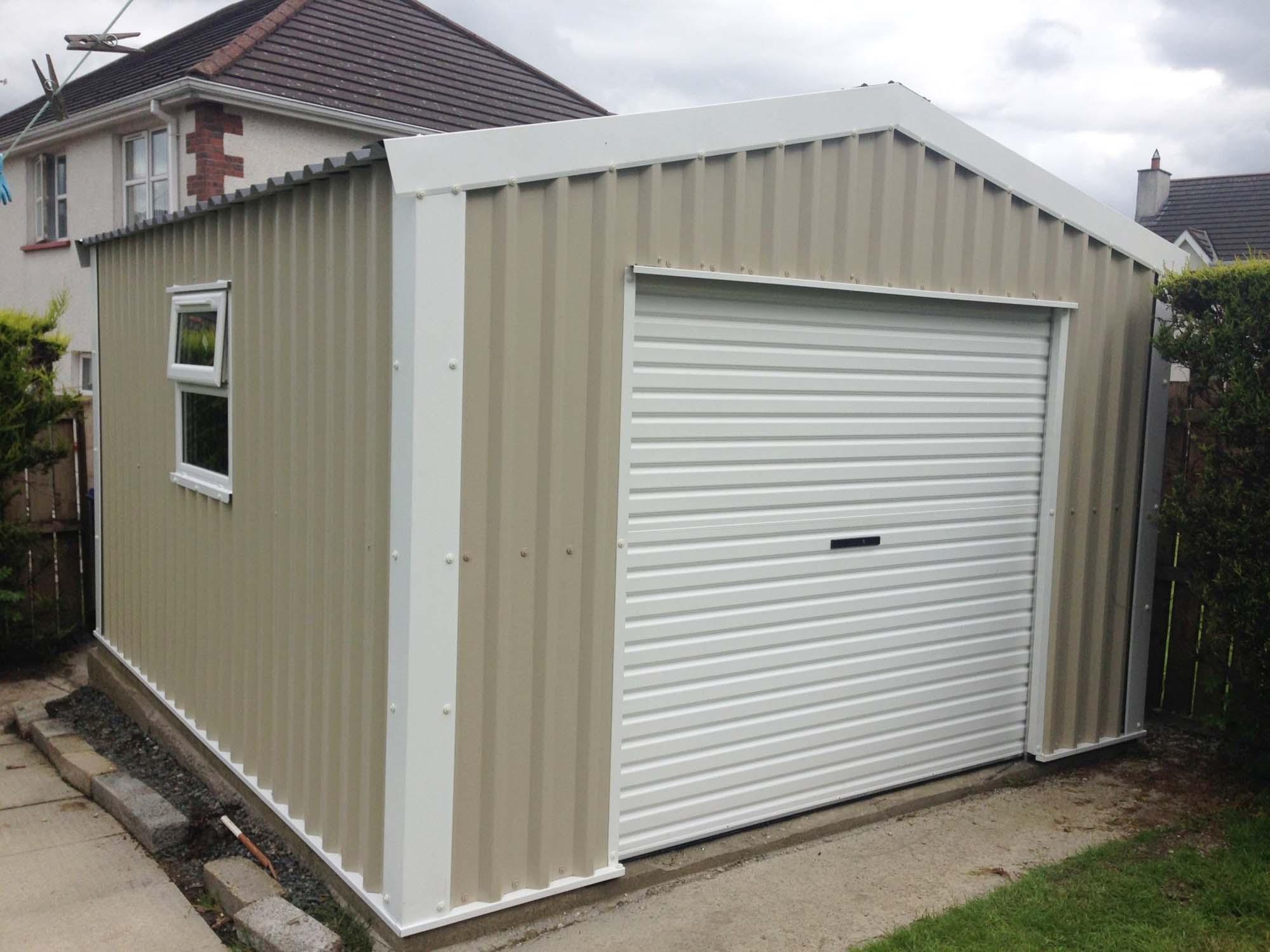 Cream and white back garden garage