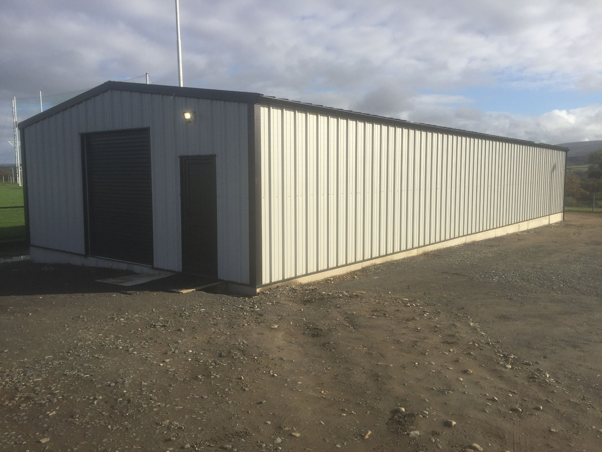 Large white steel building