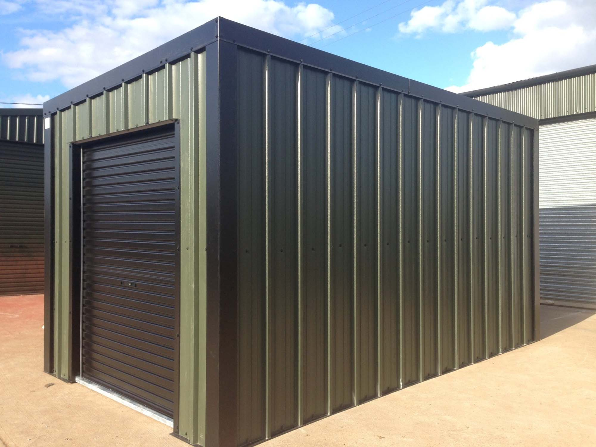 Green and black Metal Sheds